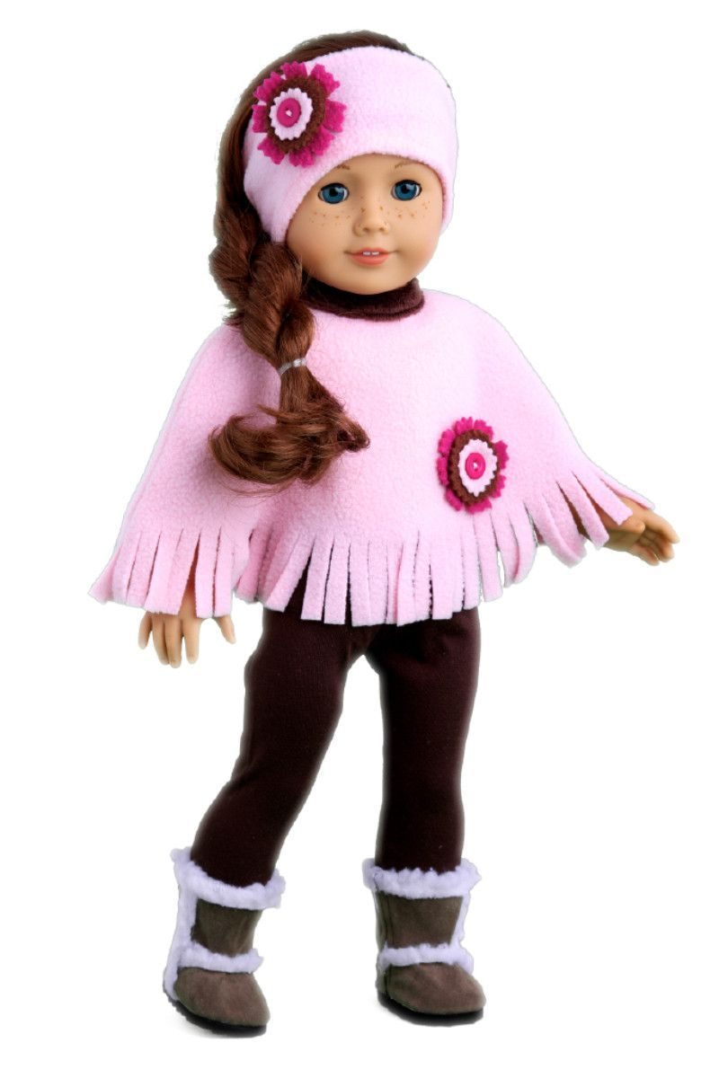 Pink Poncho - Clothes for 18 inch Doll - Pink Fleece Poncho, Headband, Brown Leggings, Sherpa Boots #bedfalls62 Pink Poncho - Clothes for 18 inch American Girl Doll - Poncho, Headband, Leggings, Sherpa Boots – Dreamworld Collections #bedfalls62