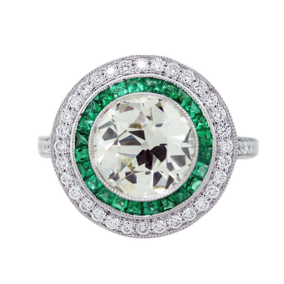 Emerald And Diamond Engagement Ring, Gemstone Halo Engagement Ring, Halo  Ring Emeralds Vintage Style