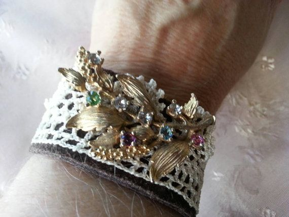 Check out this item in my Etsy shop https://www.etsy.com/listing/213681856/suede-cuff-with-vintage-jewelry-and-lace