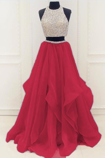 92dcb3d868 Red Beaded Prom Dress