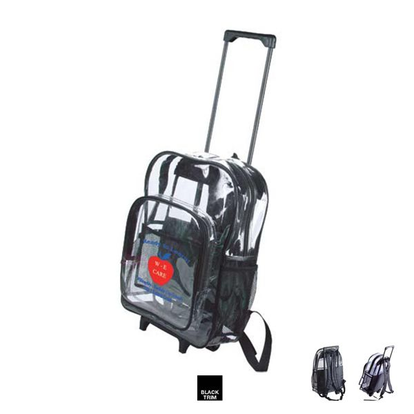 The clear wheeled backpack...The clear wheeled backpack made of ...