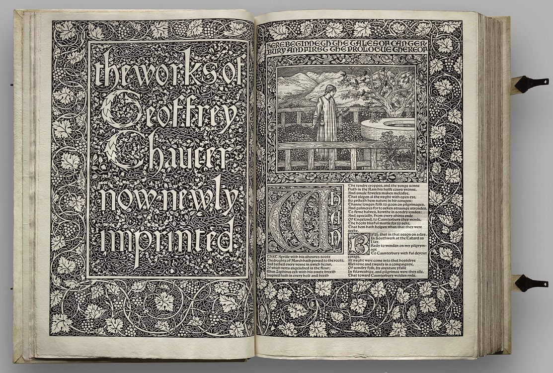 """William Morris. Illustrated pages from """"The Works of Geoffrey Chaucer"""", Kelmscott Press, Hammersmith, 1896"""