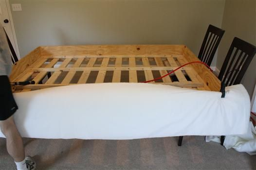 Genial Make Your Own Upholstered Bed. Iu0027m Going To Do This To Cover Up