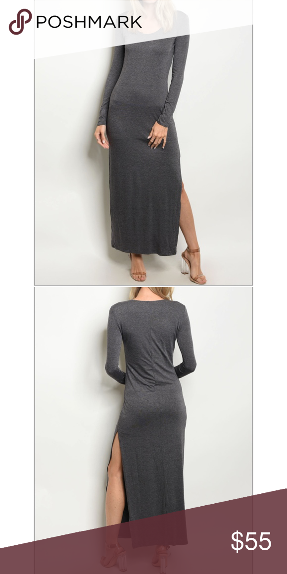 815259f606c Grey long maxi dress 95% rayon 5% spandex Measurements for size small  L