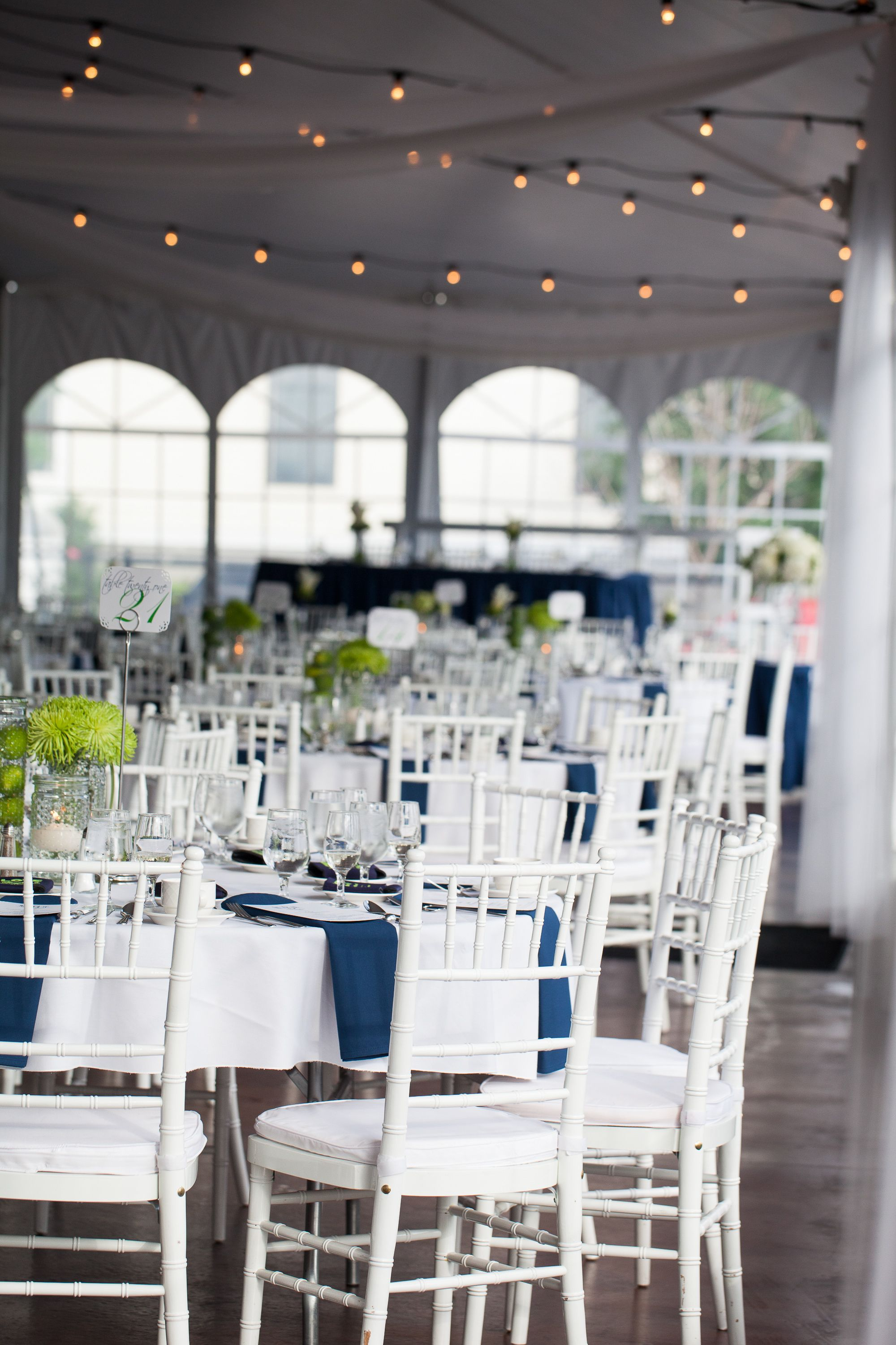 White tent, blue & green wedding, chiavari chairs but with silver ...