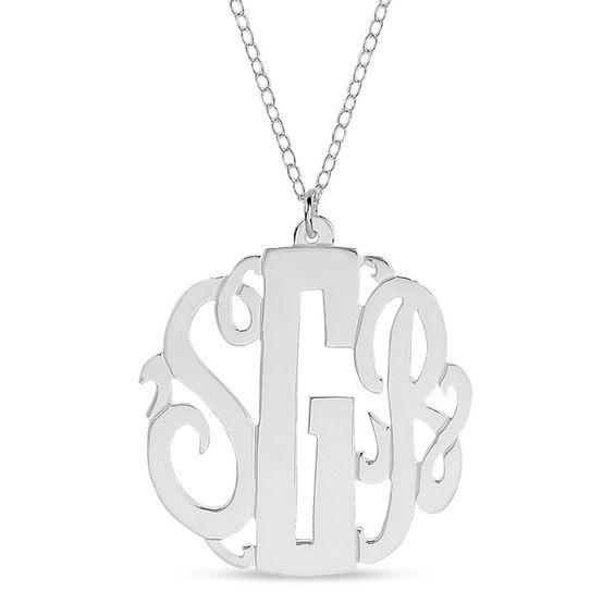 Zales Cursive Monogram Triangle Plate Necklace in Sterling Silver (3 Initials) EpN0R