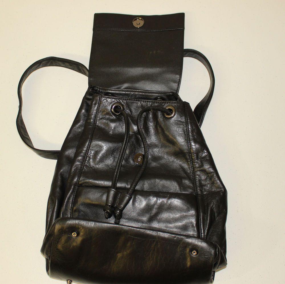 Black Leather Backpack Perlina New York Purse Handbag Clean - Smoke Free  Home  Perlina  BackpackStyle fca164bcf01fe