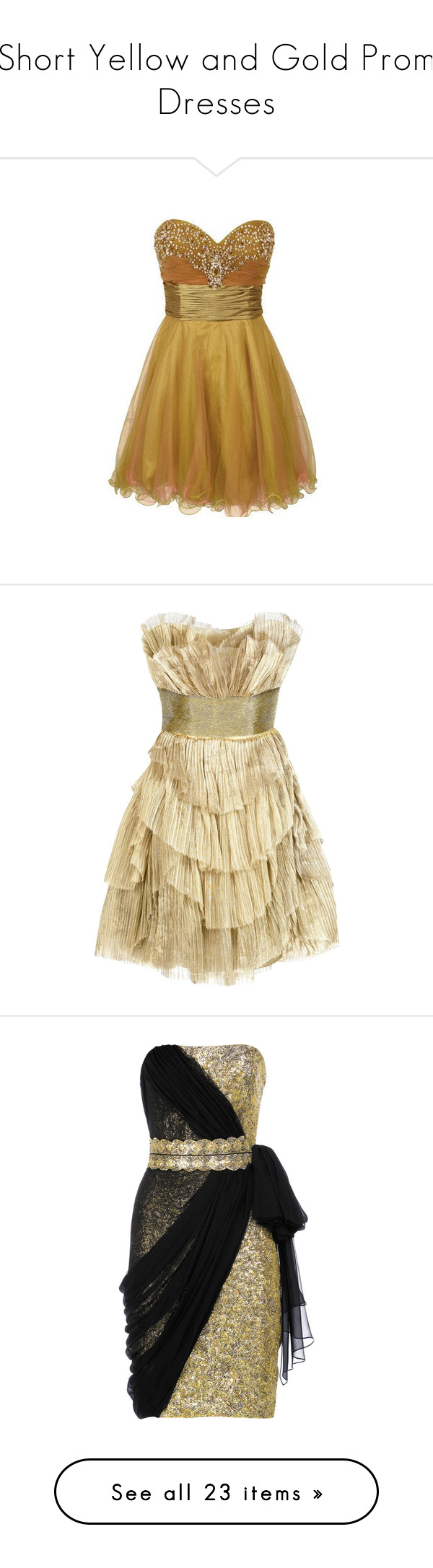 Short yellow and gold prom dresses