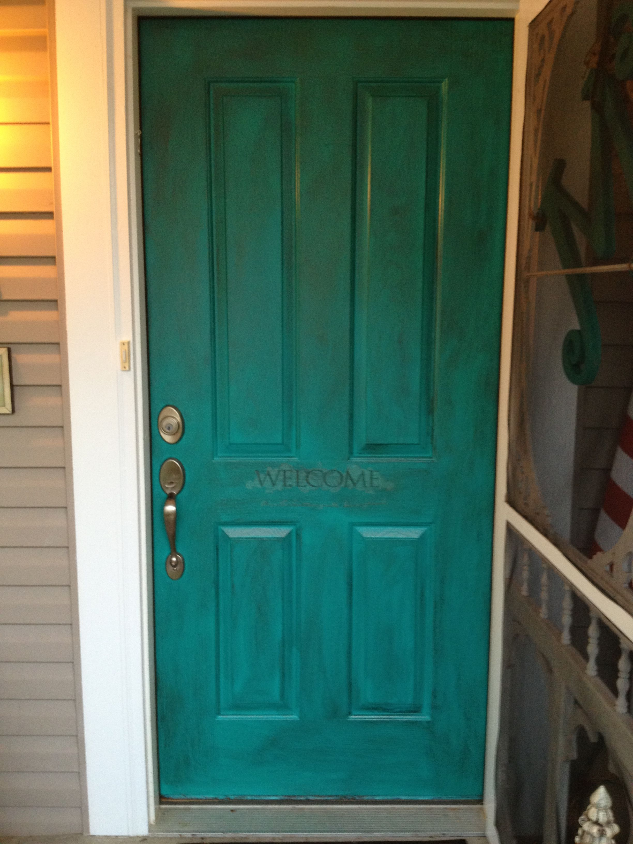 My front door. Painted with Sherwin Williams Nifty Turquoise and ...