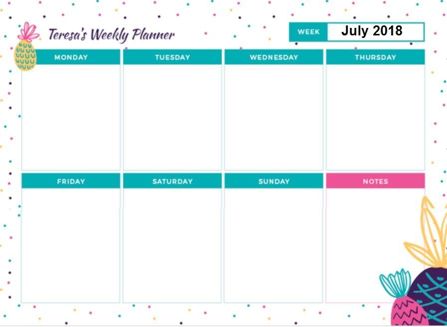 Weekly July 2018 Planner Calendar Planner Calendar Weekly