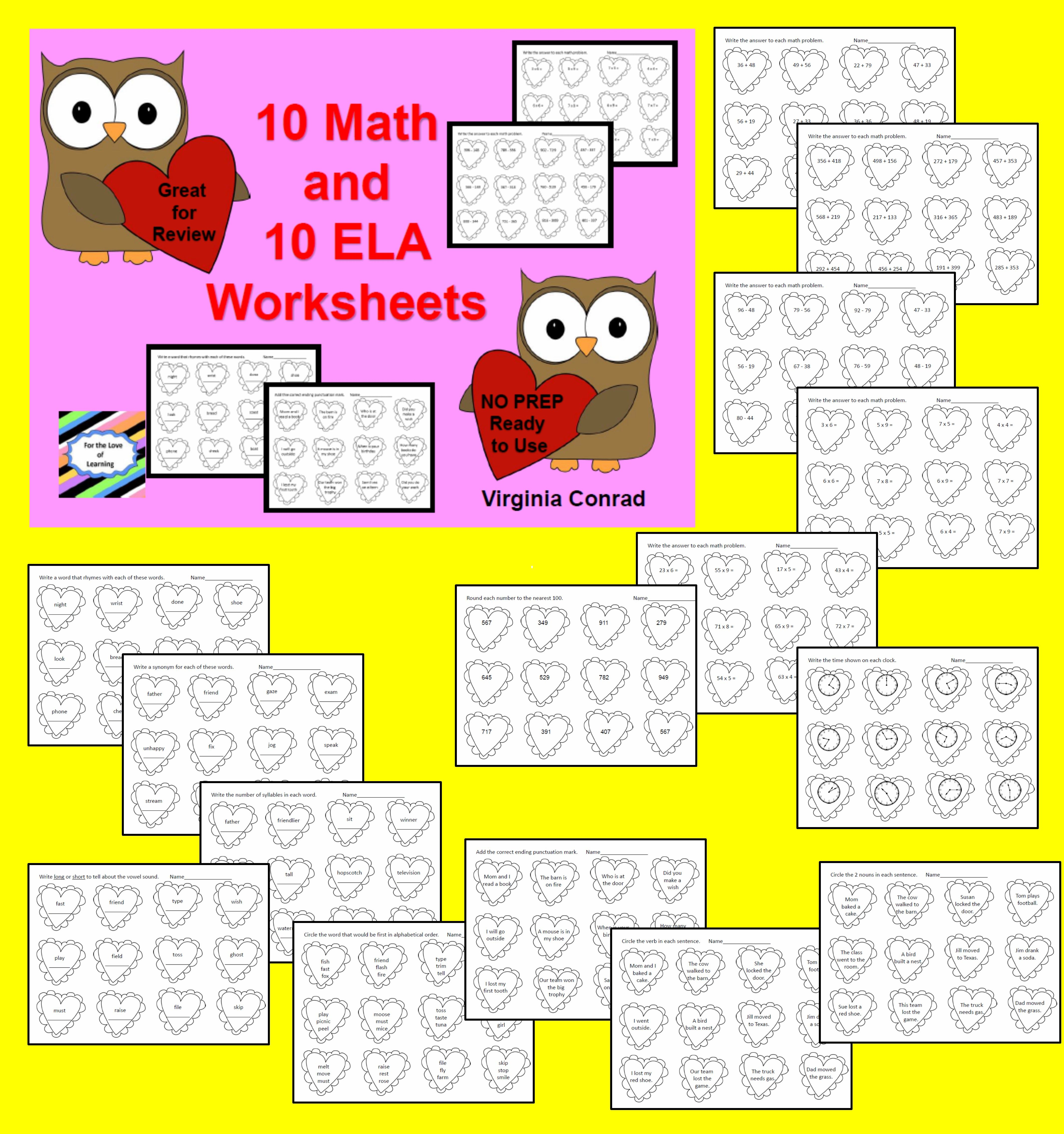 Math And Ela Worksheets For Valentine S Day