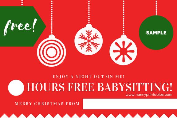 Free Instant Pdf Download  Babysitting Coupon  Nanny Voucher