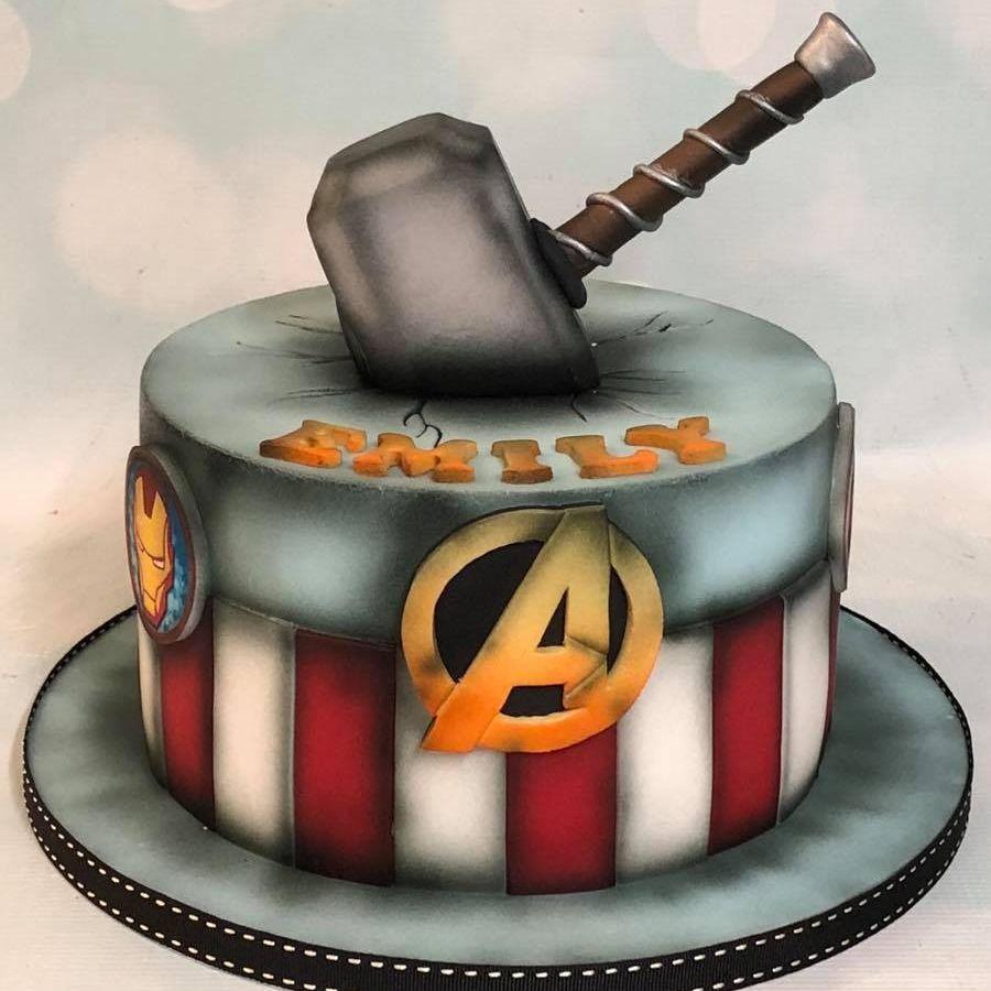 Astonishing Avengers Thor Hammer Birthday Cake Con Imagenes Torta De Personalised Birthday Cards Paralily Jamesorg