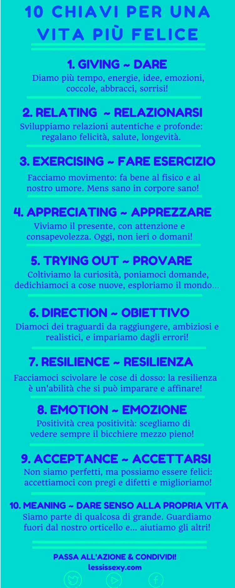 Infografica 10 Chiavi Per Una Vita Pi Felice Action Happiness Felicit LassIsSexy
