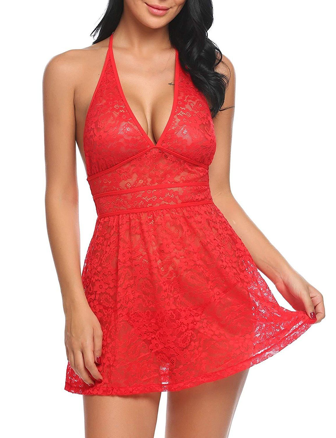 dc059c39f2 HOT Women V-Neck Lingerie Lace Babydoll Halter Floral Nightie Dress
