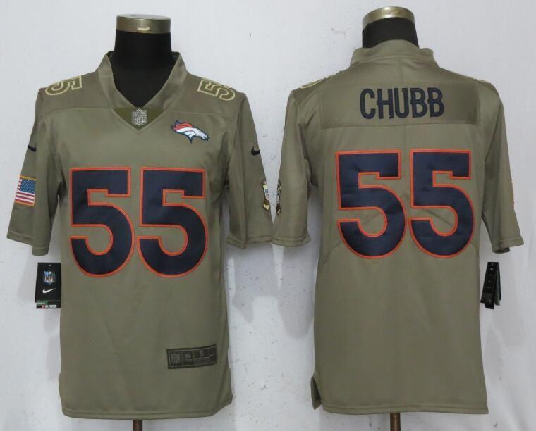d7016a018df Men Denver Broncos 55 Chubb Grey Nike Olive Salute To Service Limited NFL  Jerseys