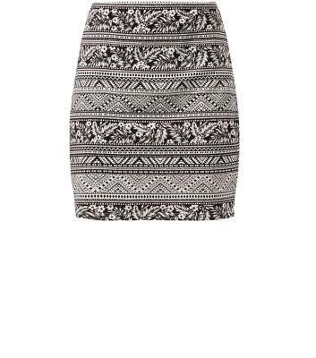 Black Aztec Palm Tree Print Tube Skirt
