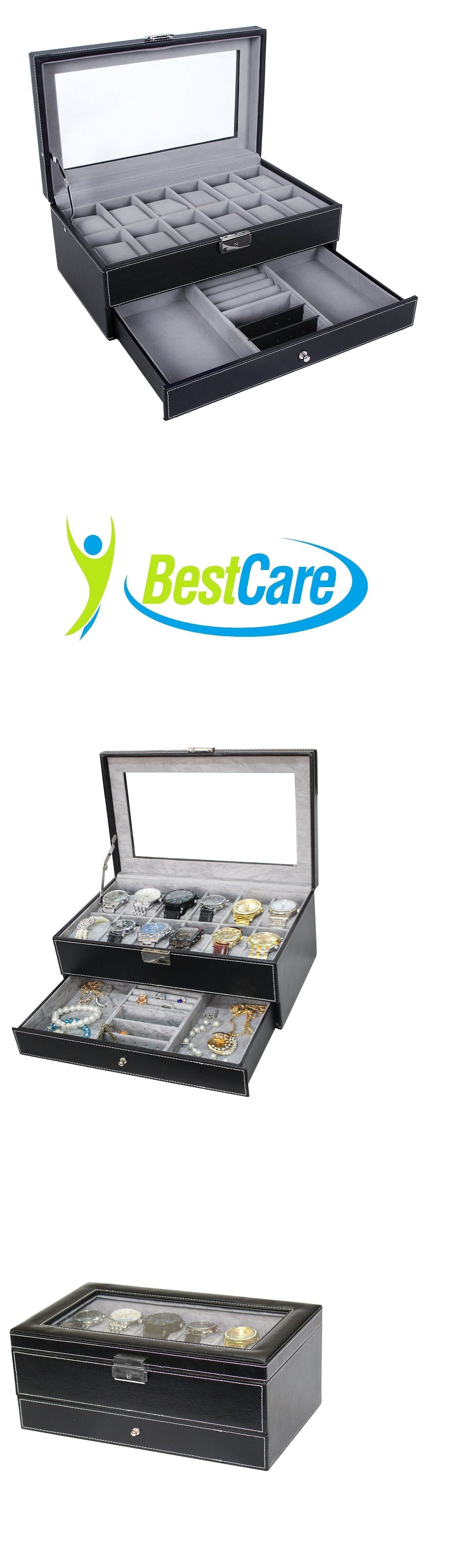 Watch 168164: Watch Box Jewelry Case Organizer Large 12 Mens Black Leather Display Glass Top BUY IT NOW ONLY: $34.97