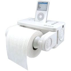 ipod stereo dock and bath tissue holder