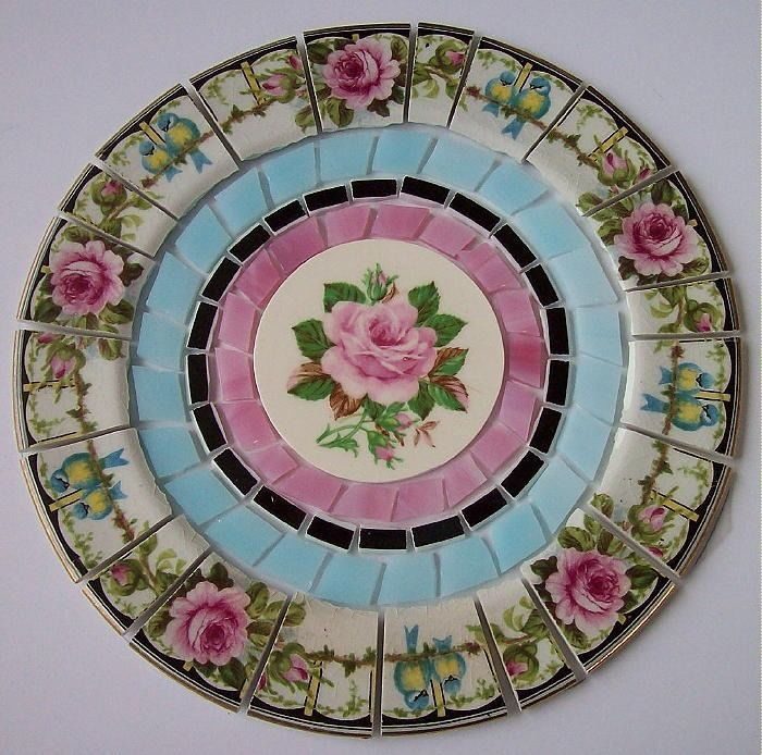 """RARE CHINA MOSAIC TILE SET ~ SHABBY VINTAGE PINK ROSE BLUE BIRD STAINED GLASS 7"""""""