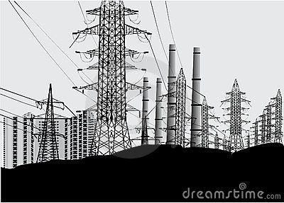 Paisaje industrial con las torres eléctricas