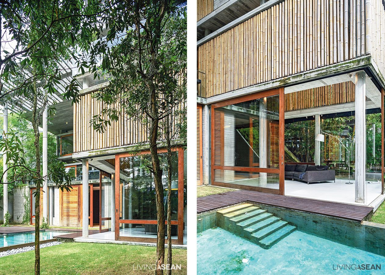 Modern tropical bamboo house