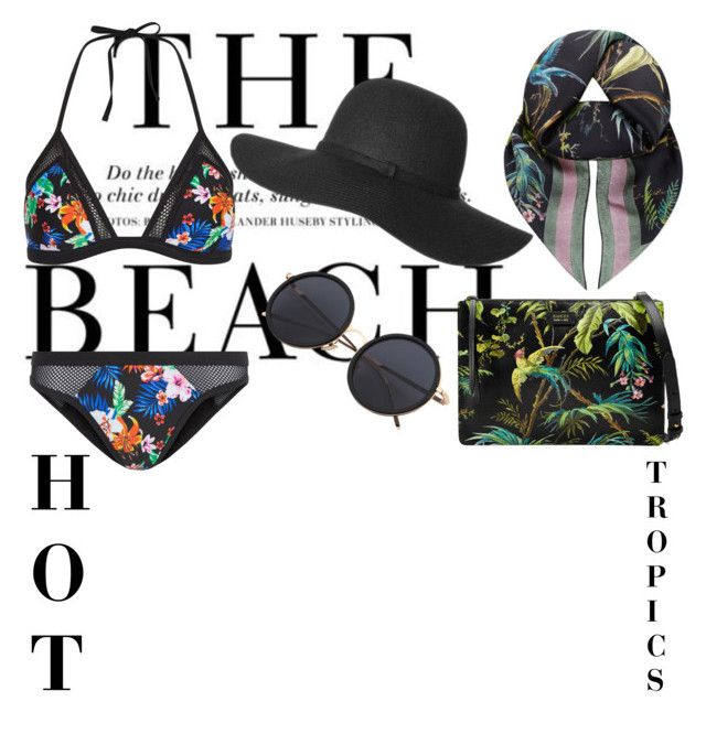 """Muted tropical print"" by sophiaaamariaaa ❤ liked on Polyvore featuring H&M, New Look, Gucci, tropicalprints and hottropics"