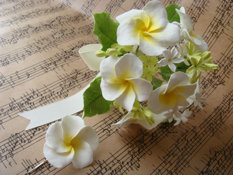 Handmade clay frangipani bouquet df via etsy the