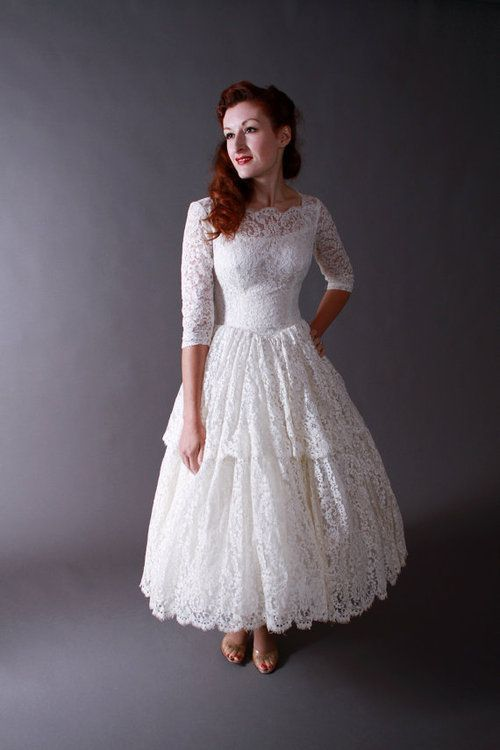 Lace Tea Length Wedding Dress With Long Sleeves Like The Shape But Not