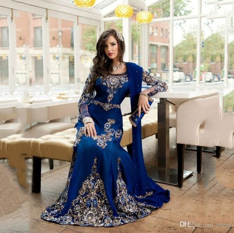 Arabic Style Muslim Long Sleeve Formal Evening Dresses 2016 Navy Blue Scoop  Beaded Embroidery Gold Abaya Dubai Kaftan Long Prom Gowns 2015 Online with  ... c8a2f908abfa