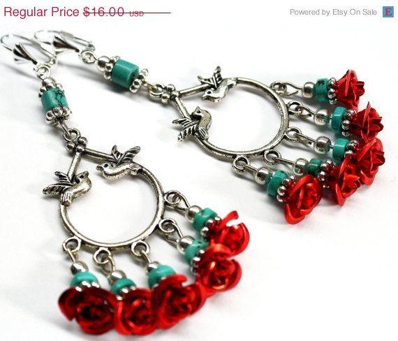 EARRINGS SALE Red Rose Chandelier Earrings Frida by Exgalabur ...