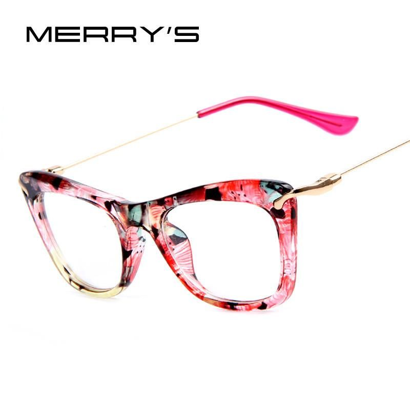 MERRY\'S Fashion Women Cat\'s Eye Glasses Frames Print Frame Cat Eye ...