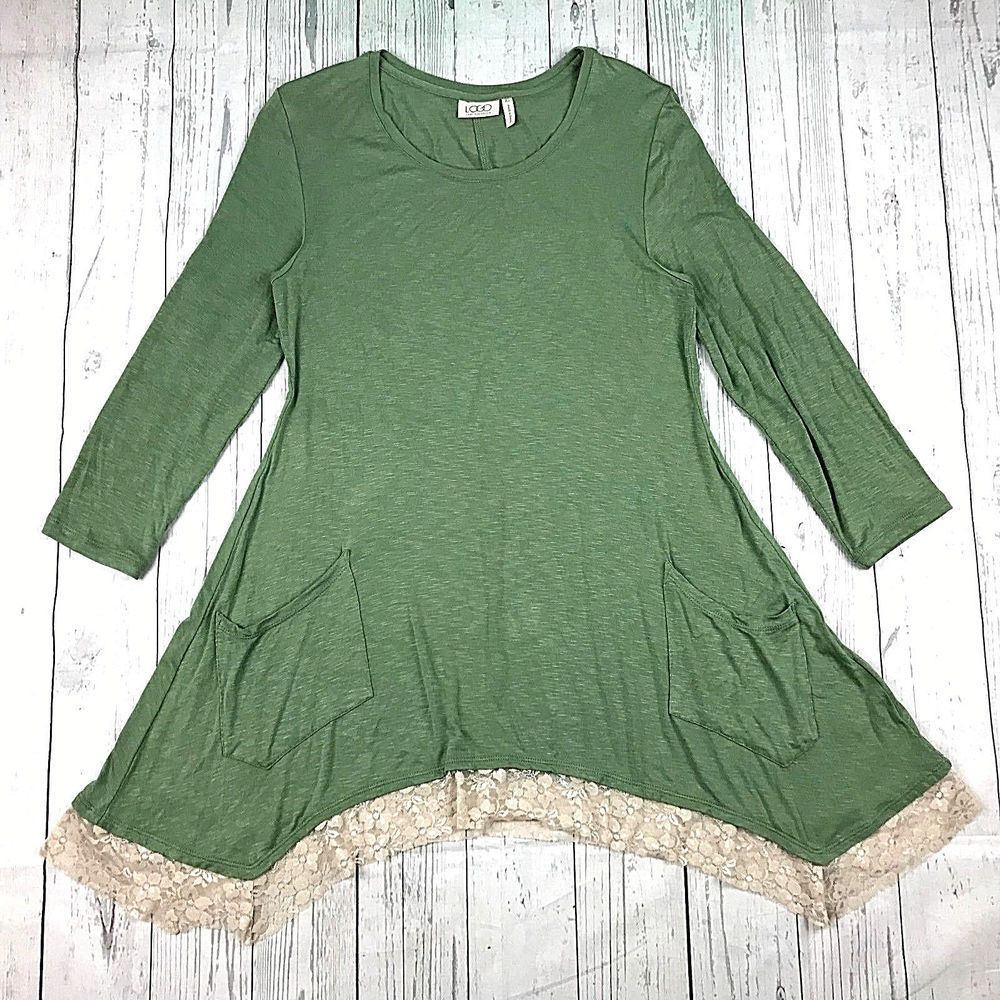 Details about logo lori goldstein womens xs green sleeve