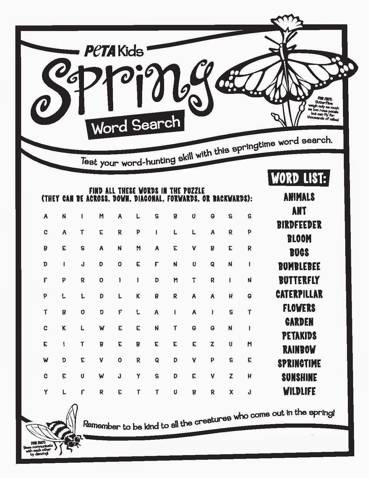 Spring Word Searches For Kids Free - Kiddo Shelter