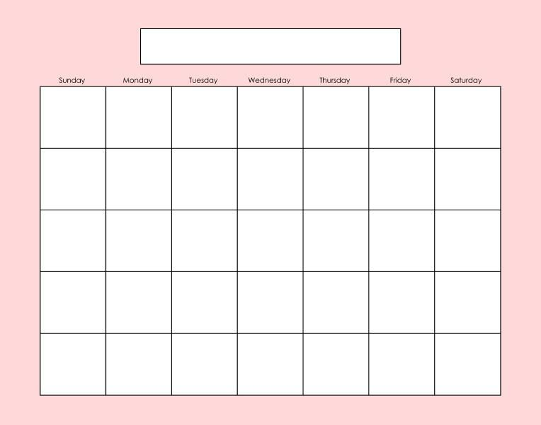 Blank calendar page Fill as needed Printables Pinterest - sample calendar template