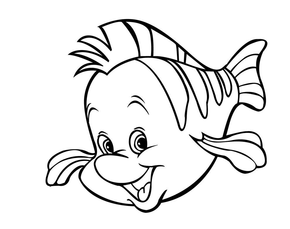 C l bre disegno di pesce flounder della sirenetta da - Cartone animato giraffa da colorare pagine da colorare ...