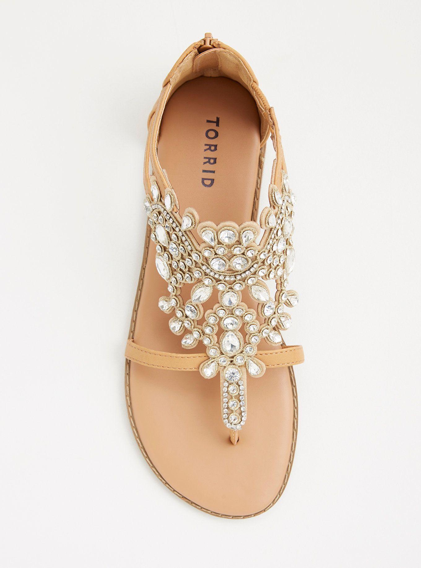 Gemstone T-Strap Sandals (Wide Width