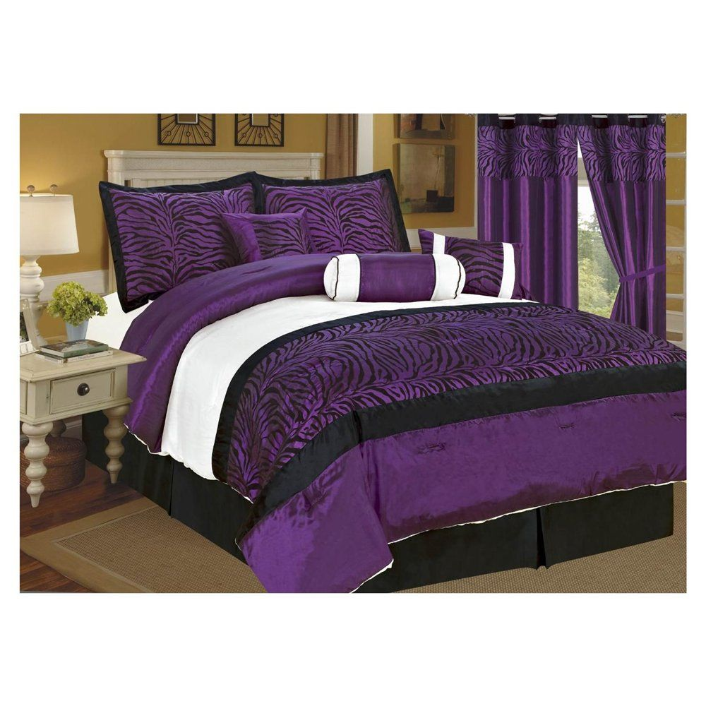 Purple bedrooms black white purple bedroom purple king for Black and purple bedroom ideas