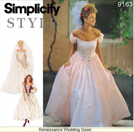 Simplicity dress pattern 9163 misses renaissance wedding dress simplicity dress pattern 9163 misses renaissance wedding dress sz 6 16 junglespirit Choice Image