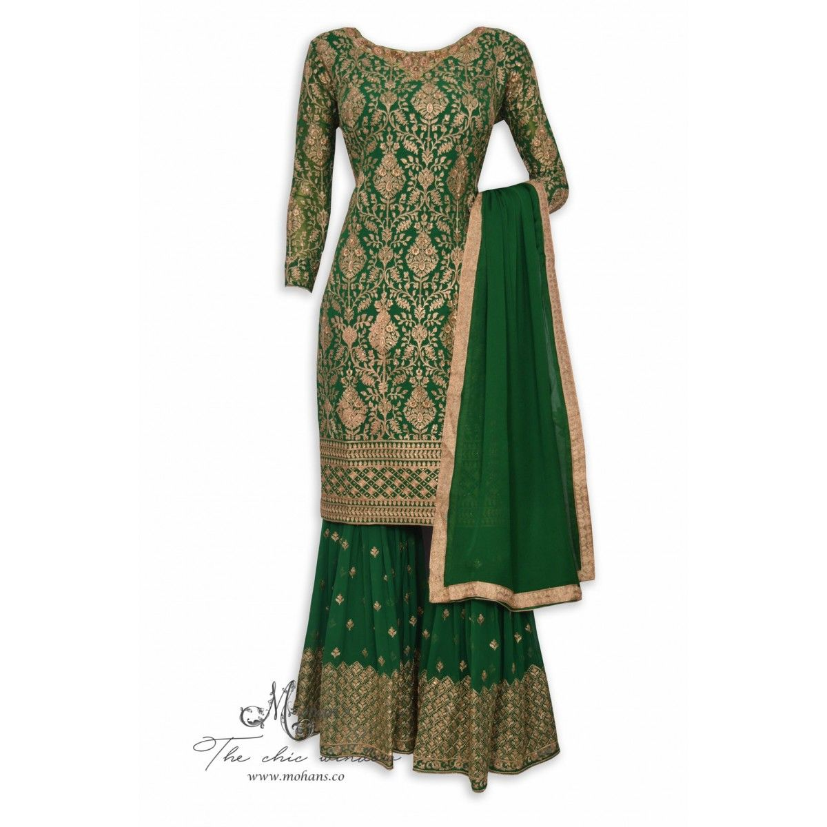 9c5fc7e4d9 Appealing bottle green stitched sharara suit adorn in antique zari and hand  work-Mohan's the chic window