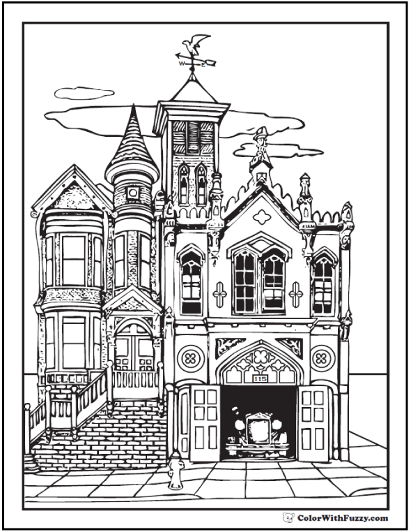 Really cool old house adult coloring pages: antique firehouse.