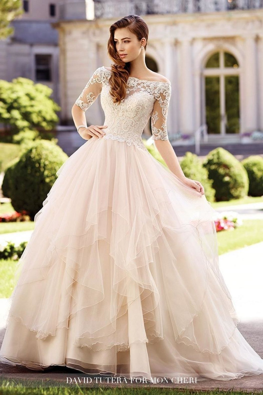 David tutera for mon cheri offtheshoulder ballgown main image