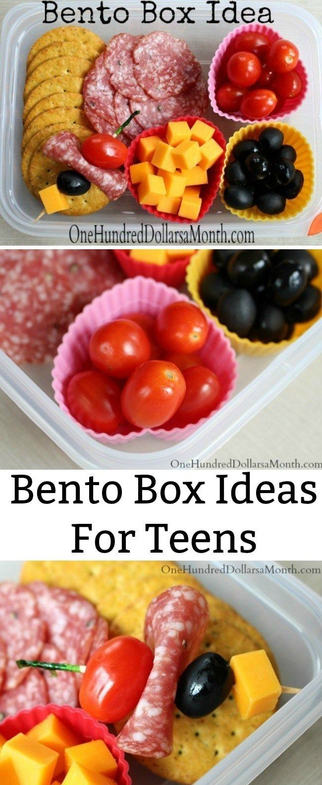 Bento Box Ideas For Teens - Salami, Olives, Cheese, Grape Tomatoes (Antipasto #bentoboxlunch