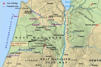 A city map of the western half tribe of Manasseh Tanaach a