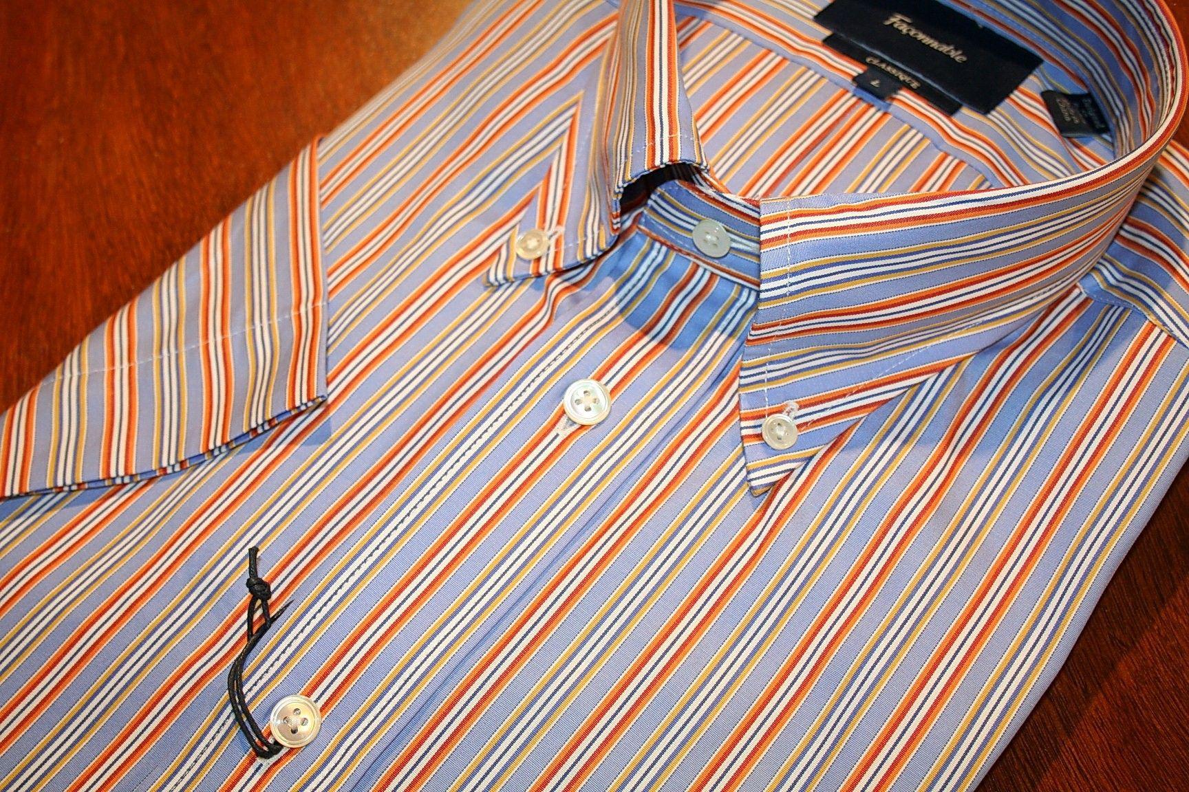 Faconnable Short Sleeve Shirt    Orange  and Blue Stripe | #Mondo #Uomo #Naples #Fashion