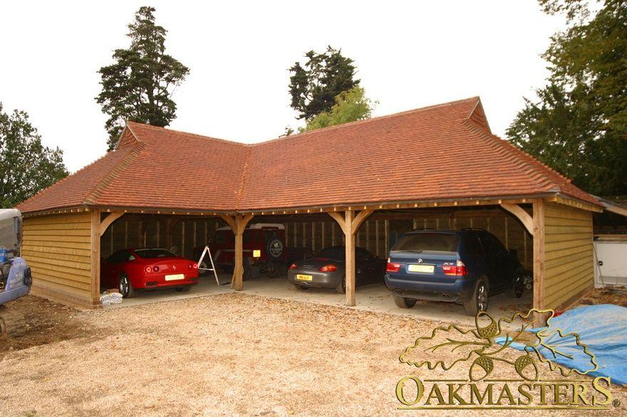 4 bay open l shaped oak garage oakmasters oak garages for L shaped garage