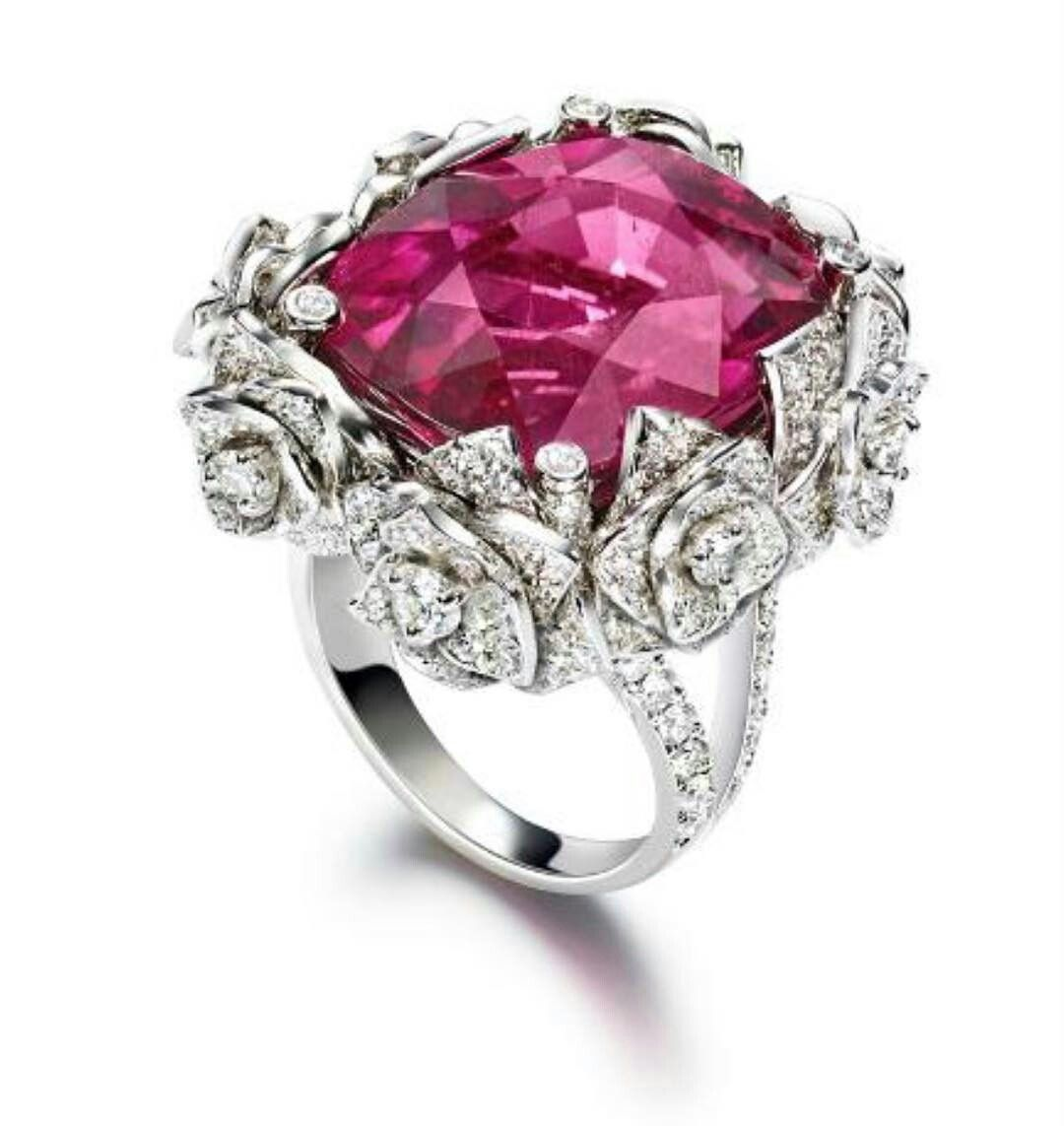 cd0a50a7a44adc Stunning Rubellite Ring by @piaget from The Mediterranean Garden  Collection. Cushion cut rubellite approximately 25 surrounded by a  beautiful setting made ...