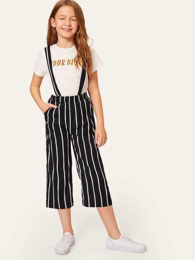 Pantalones Anchos Cortos De Rayas De Ninas Con Tira Ropa Para Ninas Fashion Ropa Para Chicas Adolescentes Ropa Linda Para Ninas