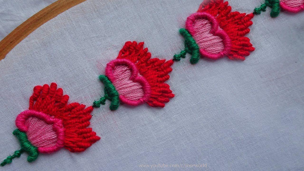 Hand Embroidery Decorative Border Design 6 Bullion Stitch
