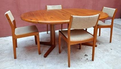 650 Vintage D Scan Danish Modern Teak Dining Set Table and Four